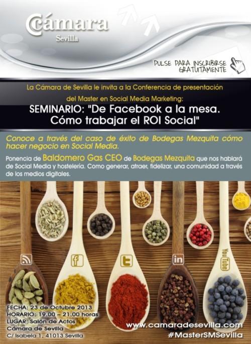 """Seminario, """"De Facebook a la mesa. Cómo trabajar el ROI Social"""""""